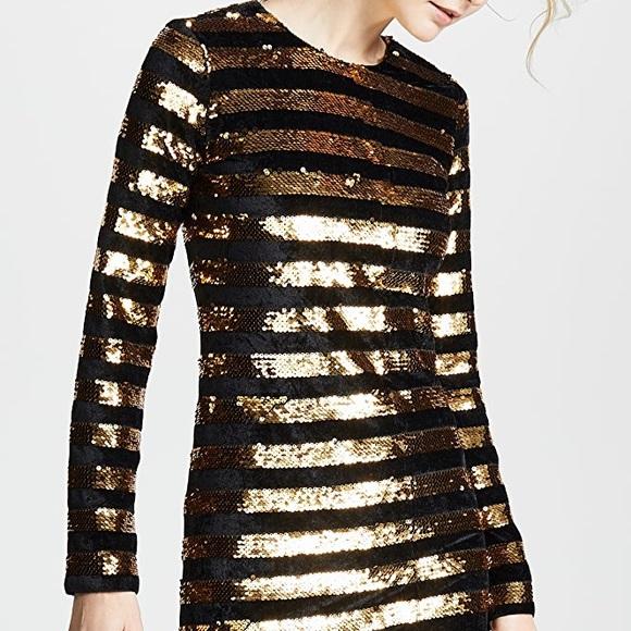 rta x Revolve crystal gold sequined stripe dress 6